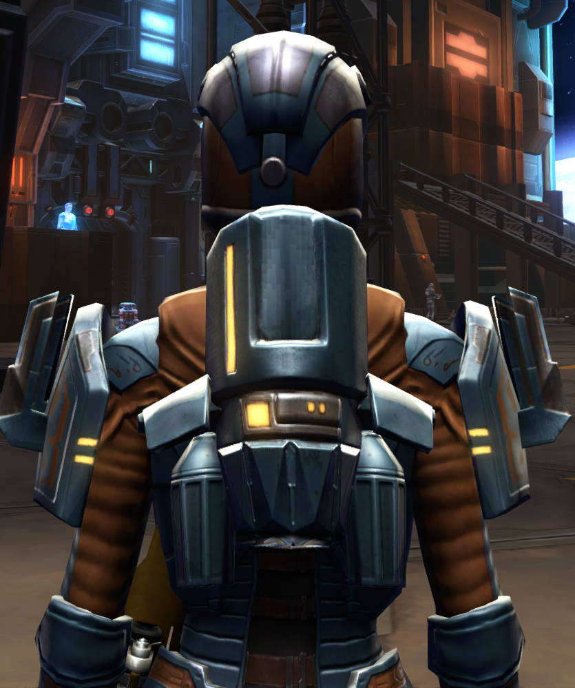 Citadel Boltblaster Armor Set detailed back view from Star Wars: The Old Republic.