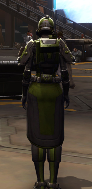 Citadel Boltblaster Armor Set player-view from Star Wars: The Old Republic.