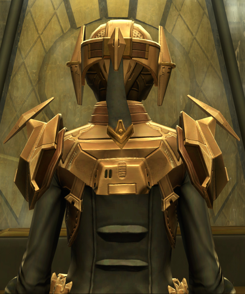 Eternal Commander MK-3 Weaponmaster Armor Set detailed back view from Star Wars: The Old Republic.