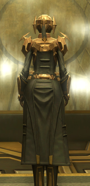 Eternal Commander MK-3 Weaponmaster Armor Set player-view from Star Wars: The Old Republic.