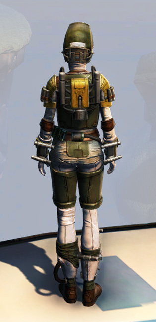 Remnant Underworld Bounty Hunter Armor Set player-view from Star Wars: The Old Republic.